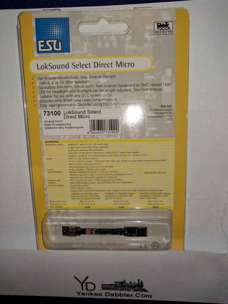 "73100 NEW ""N"" Scale ESU 73100 Select Direct Micro Sound Decoder Part # 397-73100"