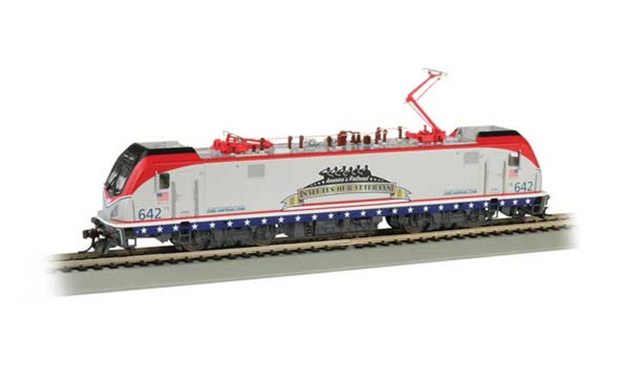 Bachmann 160-67403 /   AMTRAK ELECTRIC LOCOMOTIVE Cities Sprinters for Northeast Corridor ACS-64    #642 SALUTES OUR VETERANS TCS WOW CD Quality, Keep-Alive, TCS Audio Assist Lighting including Ditch Lights (SCALE=HO) Part # 160-67403 Pantograph extension & retraction