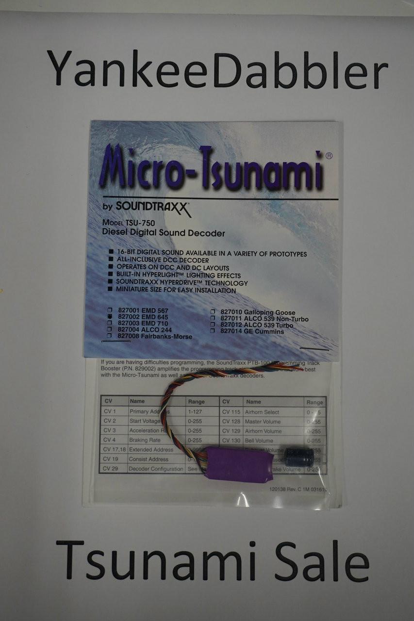 827002 Soundtraxx / Tsunami  TSU-750 827002 EMD 645 Diesel Scale = All Part # = 678-827002