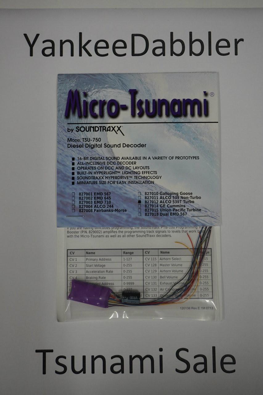 827012 Soundtraxx / Tsunami  TSU-750 827012 ALCO 539T Turbo Diesel Scale = All Part # = 678-827012