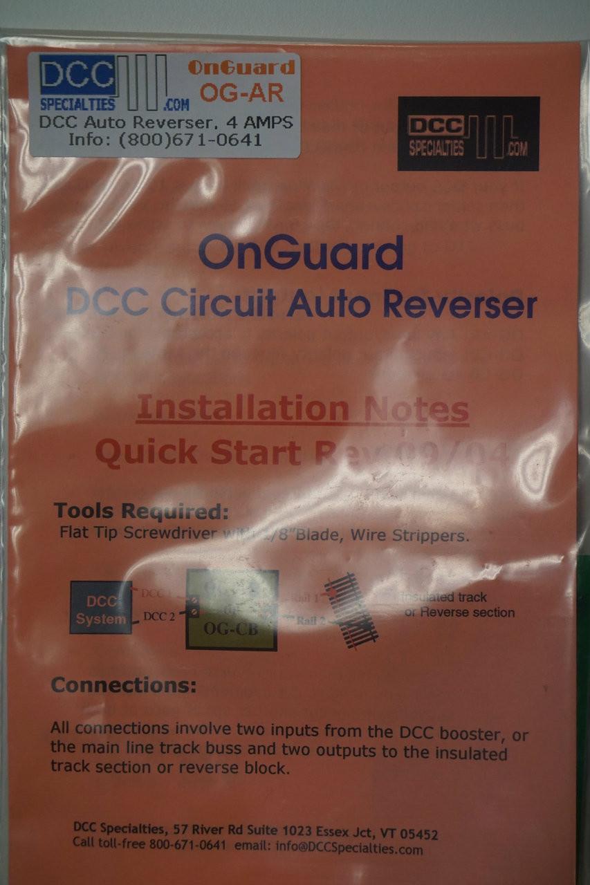 DCC SPECIALTIES 246-OGAR - OnGuard DCC Accessories -- AR1 Auto Reverser & Circuit Breaker (Scale=ALL) 246-OGAR