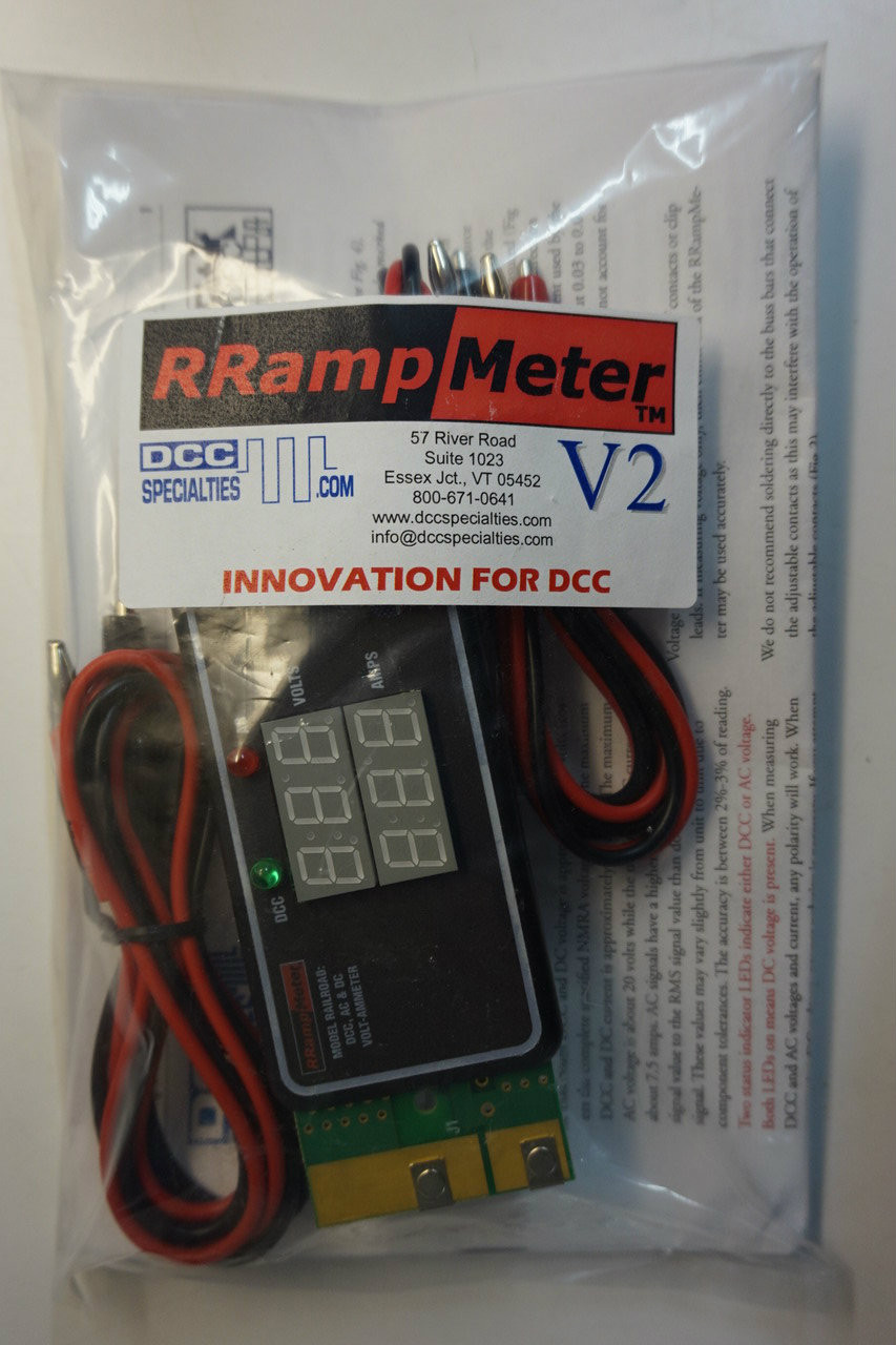 DCC SPECIALTIES 246-RRampmeterV2 - Digital Meter for DCC- DC & AC Volts & Amps -- Version II - Enclosed w/Clip Leads (Scale=All)246-RRampmeterV2