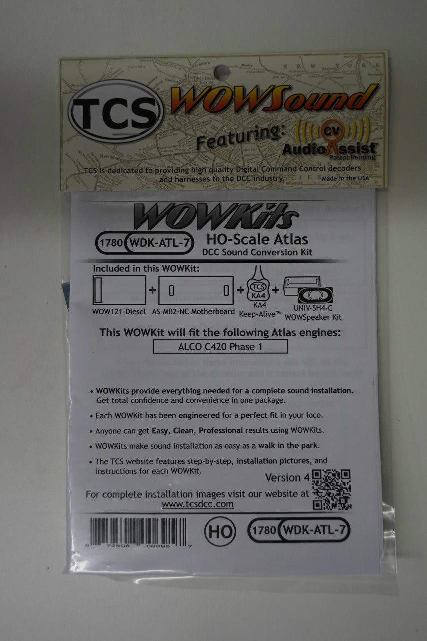 1780 TCS TRAIN CONTROL SYSTEM /  ATLAS {WOW WDK-ATL-7 DIESEL Version 4 CONVERSION KIT - HO Scale  YankeeDabbler Part # 745-1780