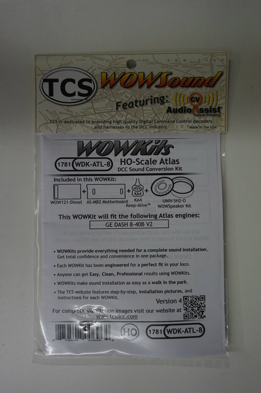 1781 TCS TRAIN CONTROL SYSTEM /  ATLAS {WOW WDK-ATL-8 DIESEL Version 4 CONVERSION KIT - HO Scale  YankeeDabbler Part # 745-1781