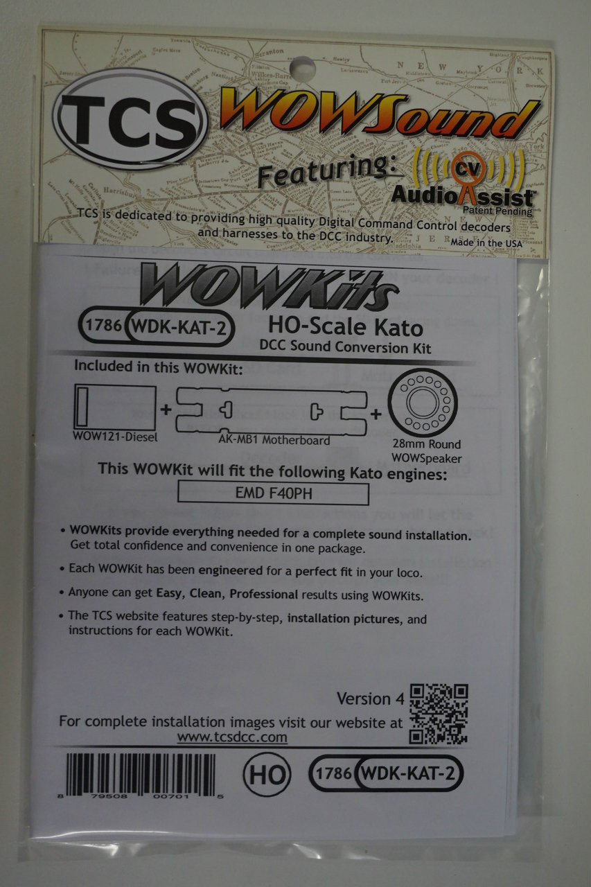 1786 TCS TRAIN CONTOL SYSTEMS / KATO WDK-KAT-2 WOW DIESEL Version 4 CONVERSION KIT - HO Scale  YankeeDabbler Part # 745-1786
