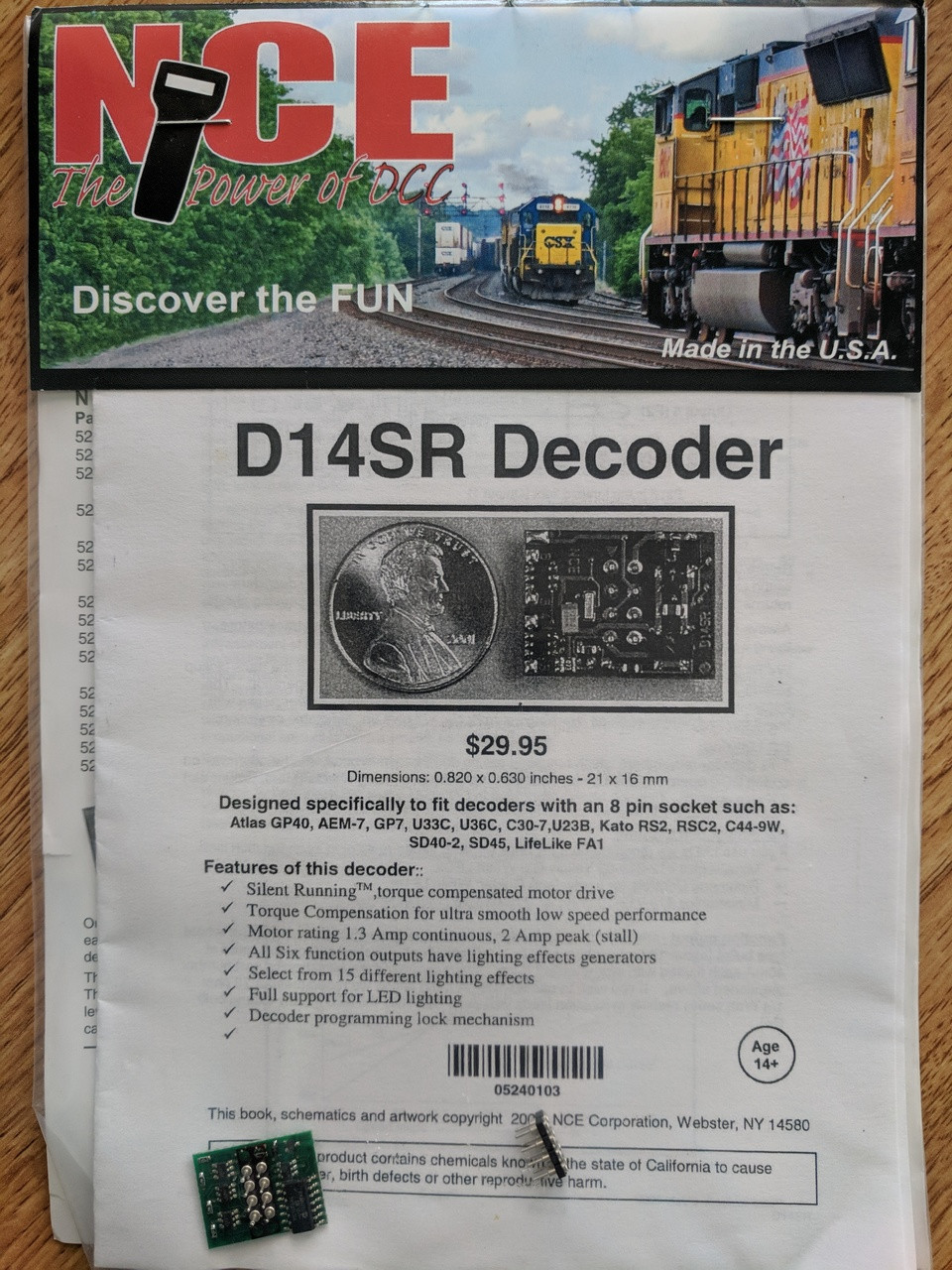 103 NCE /  D14SR DCC Control Decoder 1.3 Amp - S (SCALE=HO) Part # = NCE103