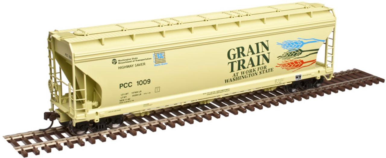 20003465 Atlas ACF 4650 Centerflow Covered Hopper - Grain Train - PCC - Palouse River & Coulee City RR #1014 (Scale=HO) 150-20003465