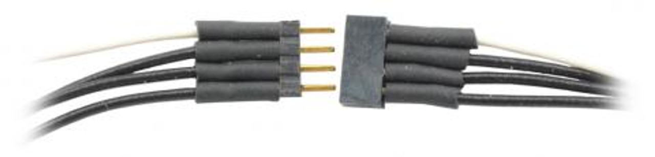 TCS 1491 4 Pin Micro Connector with Black & White wires (SCALE=ALL) Part #745-1491