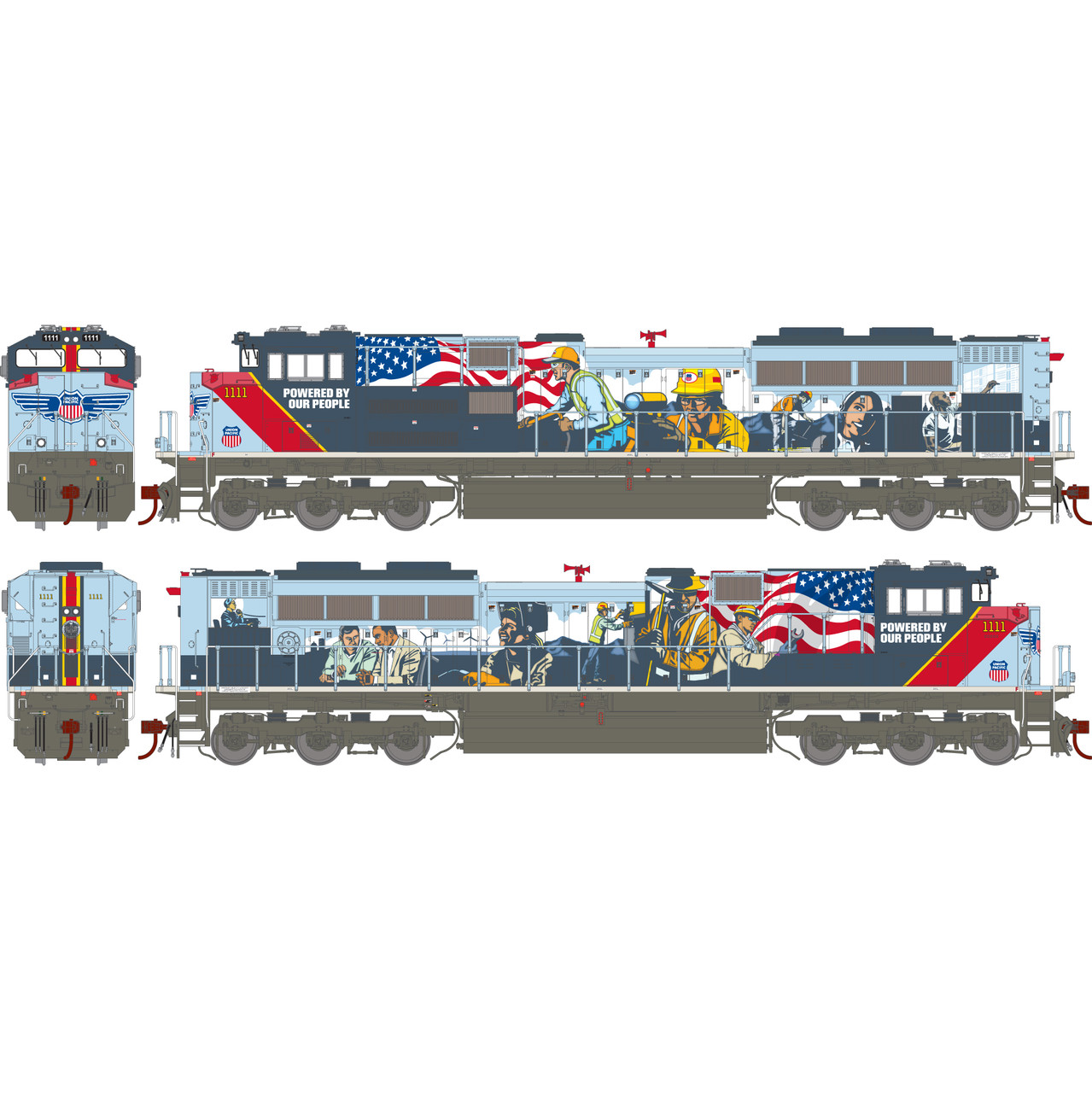 Athearn ATHG01111 SD70ACe UN Union Pacific Powered by Our People #1111 with DCC & Sound Tsunami2  (SCALE=HO)  Part #ATHG01111