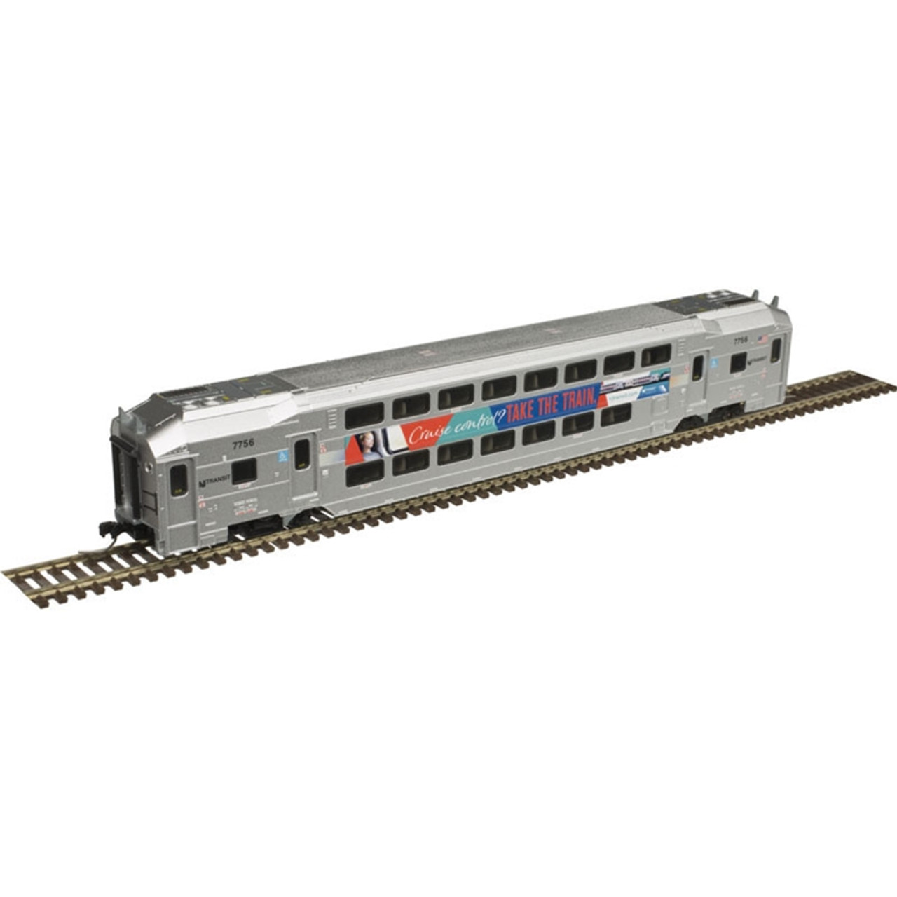 ATLAS 40004064 NJ Transit - Multi-Level Trailer with out Toilet - Cruise Control - #7756 (SCALE=N) Part # 150-40004064