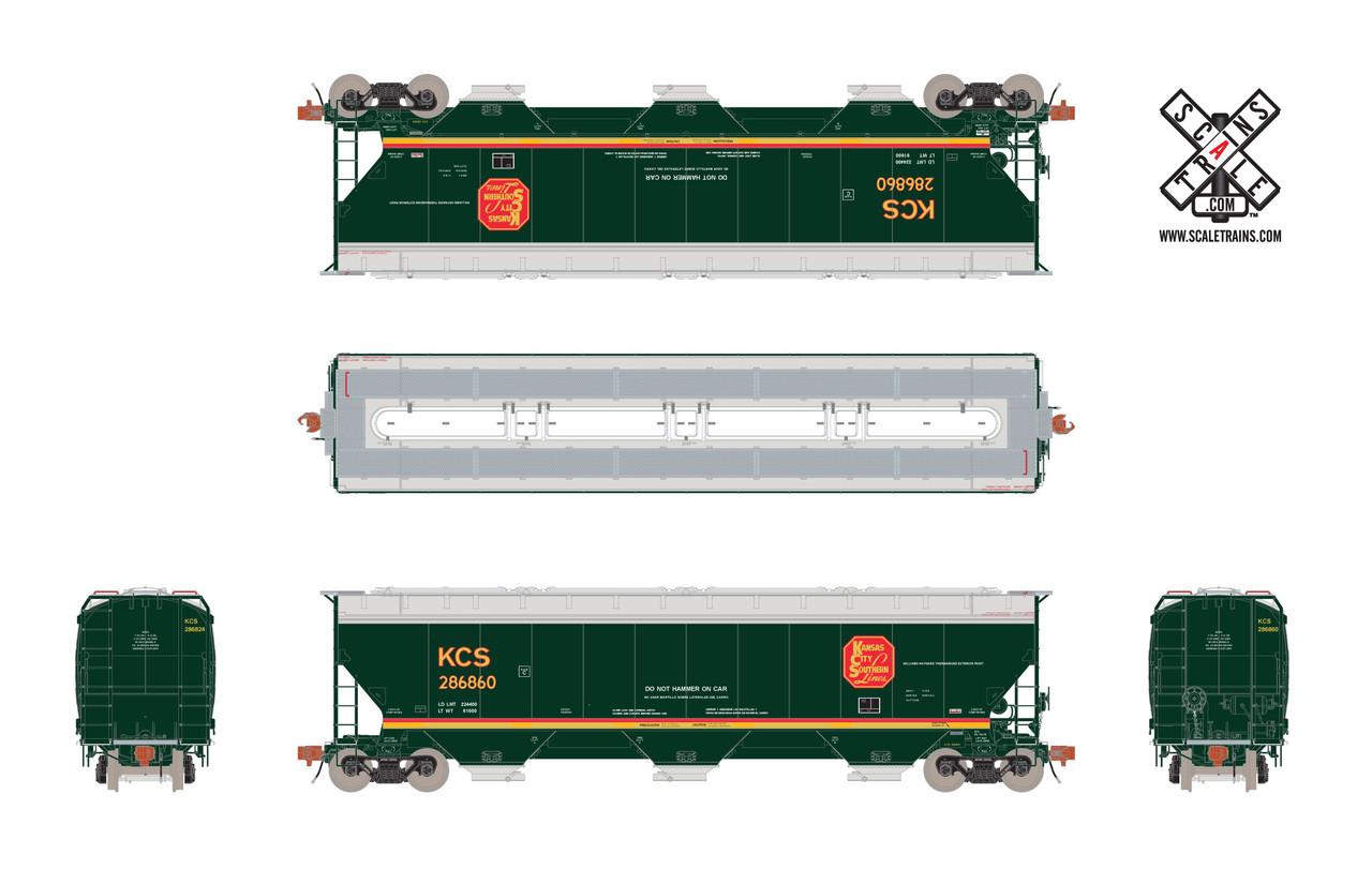 Scaletrains {SXT31598} Gunderson 5188CF Hopper KCS - Kansas City Southern - Belle #287313 (Scale=HO) Part#8003-SXT31598