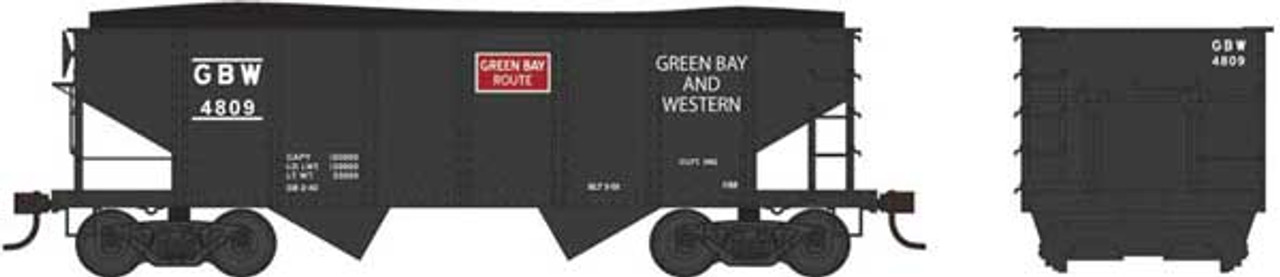 Bowser 37975 - GLa 2 Bay Hopper - GB&W - Green Bay & Western #4831 (Scale=N) Part #6-37975