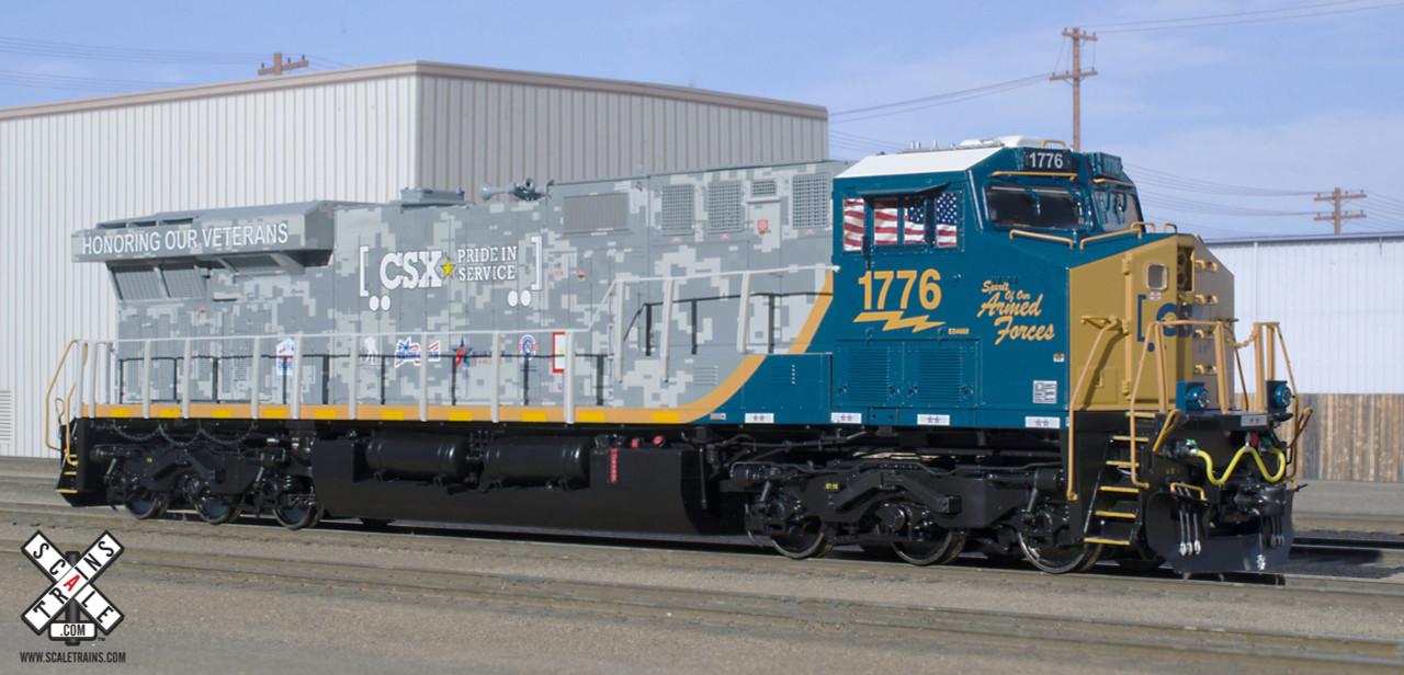 Scaletrains {SXT32397} GE ES44AH - CSX - Armed Forces #1776 - ESU v5.0 DCC & Sound (SCALE=HO) Part #8003-SXT32397