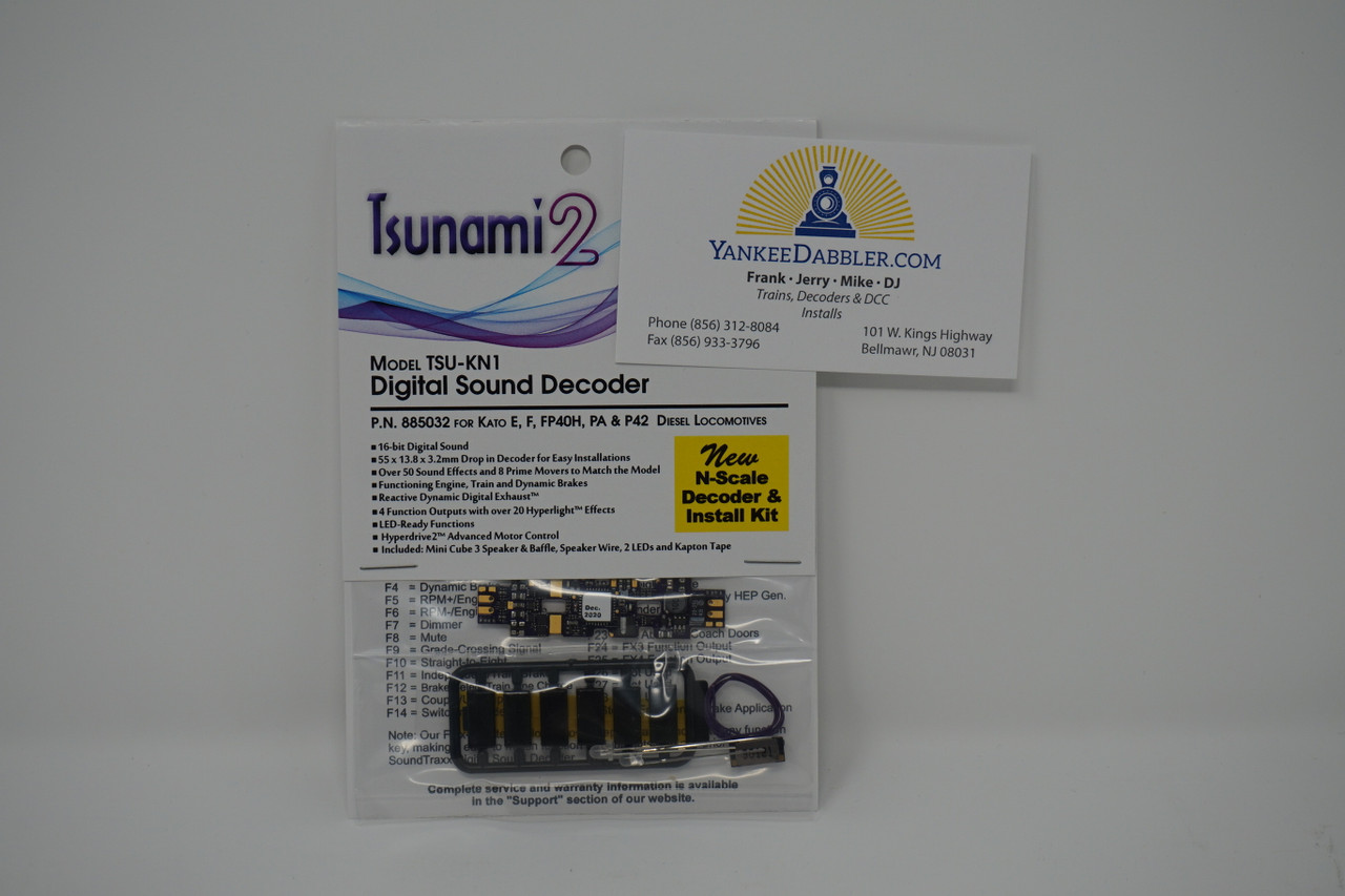 "885032 Soundtraxx""N""TSU-KN1 Tsunami 2 DCC Sound Decoder - Kato E/F/PA/F40/P42 Installation Kit Part #  678-885032 expected to ship 12/18/2020"