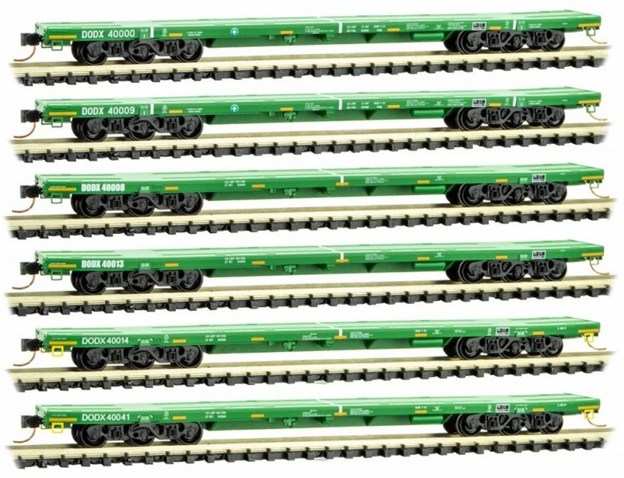 Micro Trains 993 01 611 DODX'  Cascade Green Flat Car 6 pack N Scale