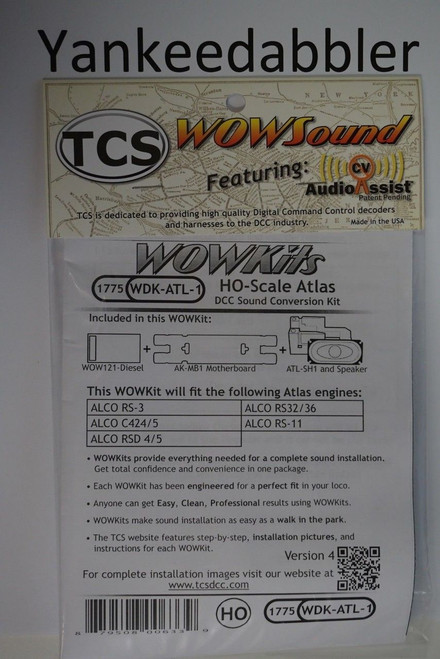 1775 TCS TRAIN CONTROL SYSTEM - TCS /  ATLAS {WOW WDK-ATL-1} DIESEL Version 4 CONVERSION KIT - HO Scale  YankeeDabbler Part  # 745-1775