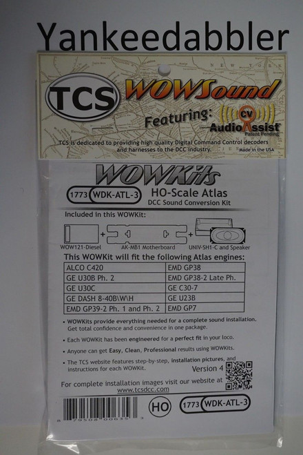 1773 TCS Train Control Systems   ATLAS {WOW WDK-ATL-3} DIESEL Version 4 CONVERSION KIT - HO Scale  YANKEEDABBLER PART # 745-1773