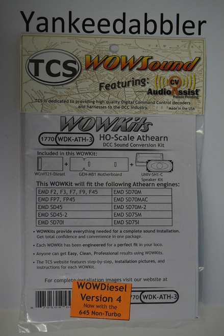 1770 TCS Train Control Systems /  WDK-ATH-3 DCC WOW Sound Cnvrsn (SCALE=HO) Part # 745-1770