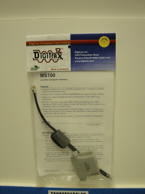 Digitrax MS100 LocoNet PC Computer Interface-RS232  (Scale = ALL)  Part # 245-MS100