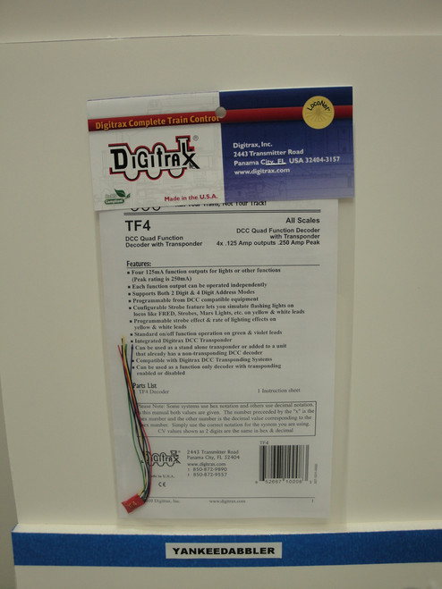 TF4 Digitrax / Trnspndng quad function  (Scale = ALL)  Part # 245-TF4