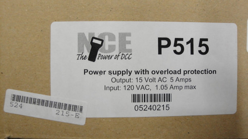 215 NCE /  P515 Power Supply -- 15V AC, 5 Amps (SCALE=ALL) Part # = 524-215