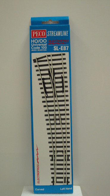 SL-E87 Peco / SL-E87 Code 100 Left-Hand Curved Electrofrog Turnout (SCALE=HO ) P Part # PCO-SL-E87