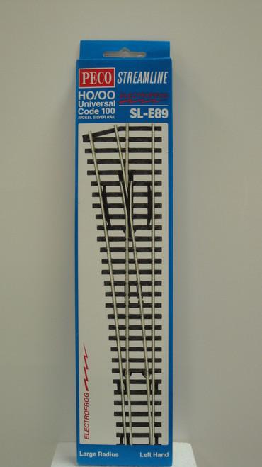 SL-E89 Peco / SL-E89 Code 100 Left-Hand Large Radius Electrofrog Turnout (SCALE=HO ) P Part # PCO-SL-E89