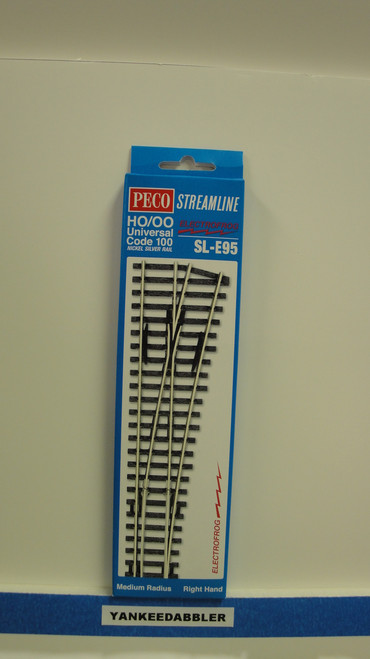 SL-E95 Peco / SL-E95 Code 100 Right-Hand Medium Radius Electrofrog Turnout (SCALE=HO ) P Part # PCO-SL-E95