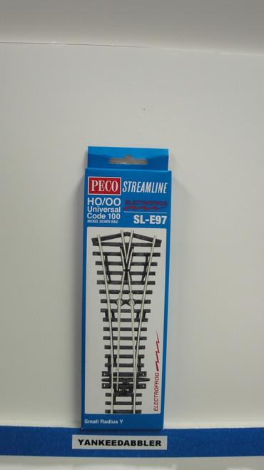 SL-E97 Peco / SL-E97 Code 100 Small Radius Wye Electrofrog Turnout (SCALE=HO ) P Part # PCO-SL-E97