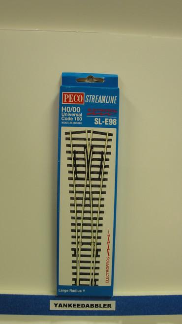 SL-E98 Peco / SL-E98 Code 100 Large Radius Wye Electrofrog Turnout (SCALE=HO ) P Part # PCO-SL-E98