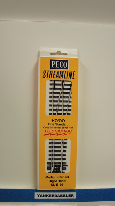 SL-E195 Peco / SL-E195 Code 75 Right-Hand Medium Radius Electrofrog Turnout (SCALE=HO ) P Part # PCO-SL-E195