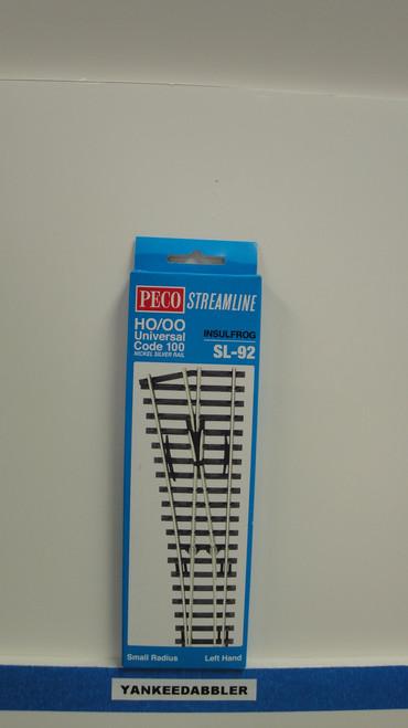 SL-92 Peco / SL-92 HO Code 100 Left-Hand Small Radius Insulfrog Turnout (SCALE=HO ) P Part # PCO-SL-92