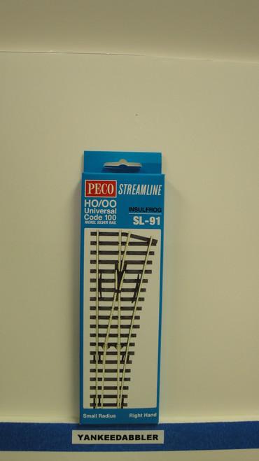 SL-91 Peco / SL-91 HO Code 100 Right-Hand Small Radius Insulfrog Turnout (SCALE=HO ) P Part # PCO-SL-91