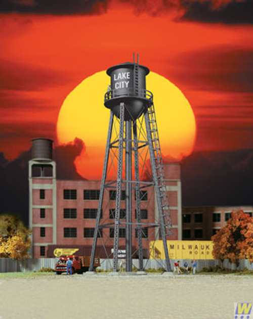 Walthers 933-3832-CITY-WATER-TOWER-BLACK  (Scale=HO) Cornerstone Part#933-3832