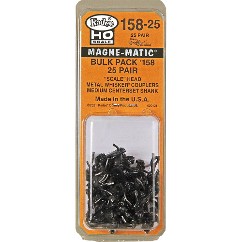 158-25 Kadee / Scale Head #158 Bulk Pack 25 pair  (HO Scale) Replaces Part # 380-150