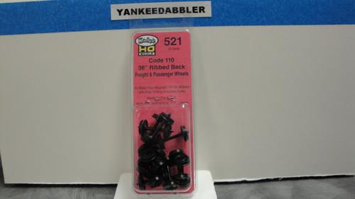 "521 Kadee / 36"" Diameter Ribbed Back Code 110 ""Standard"" Wheelsets Package of 12  (HO Scale) Part # 380-521"