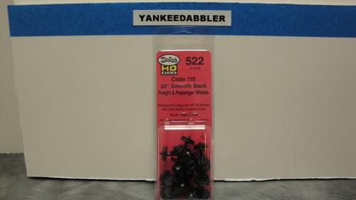 "522 Kadee / 36"" Diameter Smooth Back Code 110 ""Standard"" Wheelsets Package of 12  (HO Scale) Part # 380-522"
