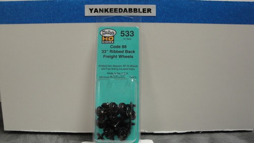 """533 Kadee / 33"""" Diameter Ribbed Back Code 88 """"Semi-Scale"""" Wheelsets Package of 12  (HO Scale) Part # 380-533"""