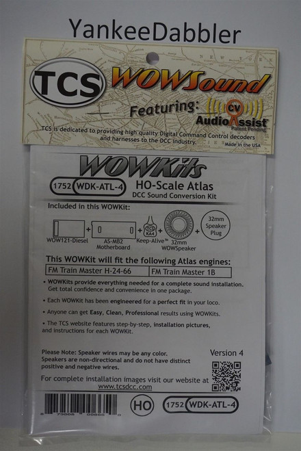 1752 TCS TRAIN CONTROL SYSTEM /  ATLAS {WOW WDK-ATL-4}- DIESEL Version 4 CONVERSION KIT - HO Scale  YANKEEDABBLER PART # 745-1752