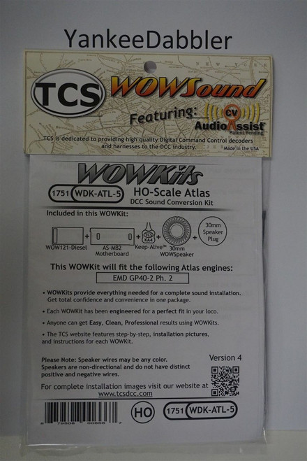 1751 TCS TRAIN CONTROL SYSTEM /  ATLAS {WOW WDK-ATL-5}- DIESEL Version 4 CONVERSION KIT - HO Scale  YANKEEDABBLER PART # 745-1751