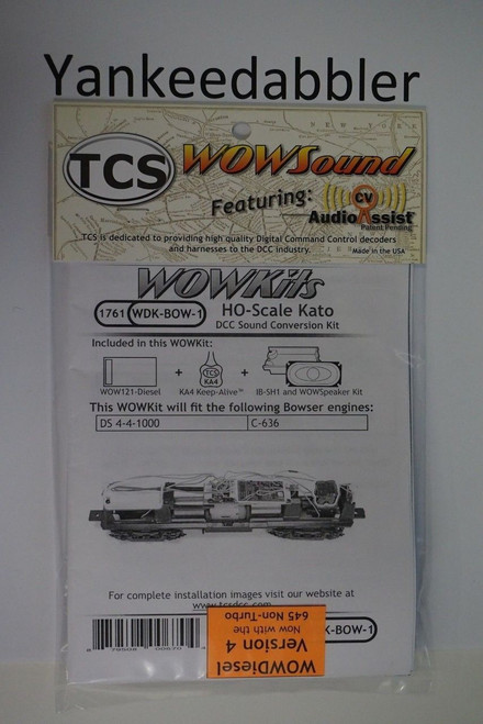 1761 TCS TRAIN CONTROL SYSTEM /  Bowser {WOW WDK-BOW-1} DIESEL Version 4 CONVERSION KIT - HO Scale  YankeeDabbler Part # 745-1761