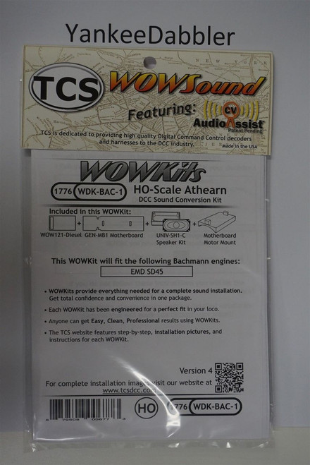 1776 TCS TRAIN CONTOL SYSTEMS (TCS) Bachmann WDK-BAC-1 WOW DIESELVersion 4 CONVERSION KIT - HO Scale  YankeeDabbler Part # 745-1776