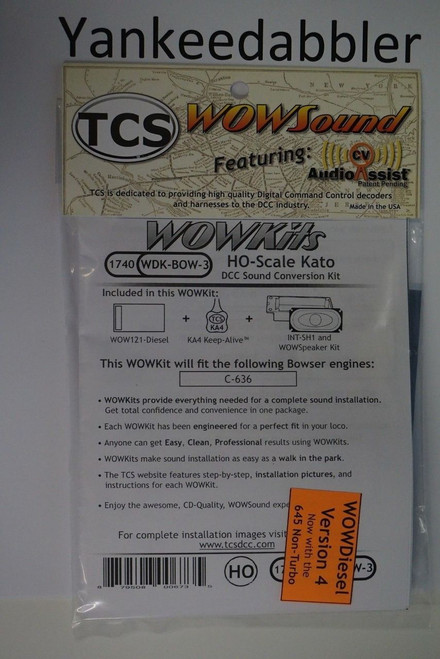 1740 TCS TRAIN CONTROL SYSTEM /  Bowser {WOW WDK-BOW-3} DIESEL Version 4 CONVERSION KIT - HO Scale  YankeeDabbler Part # 745-1740