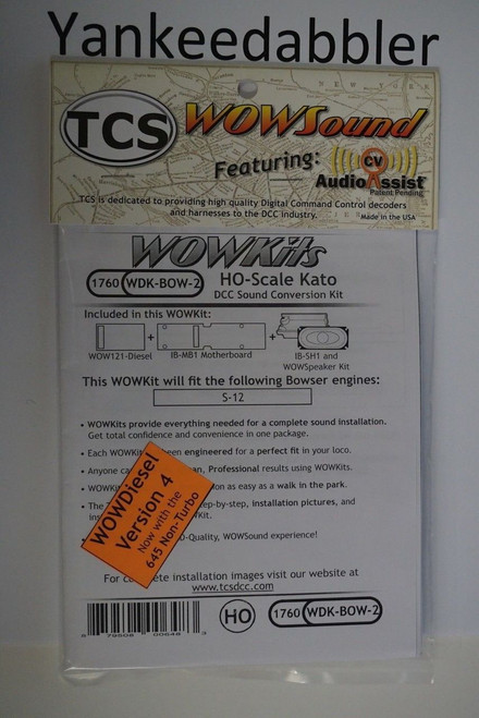 1760 TCS TRAIN CONTROL SYSTEM /  Bowser {WOW WDK-BOW-2} DIESEL Version 4 CONVERSION KIT - HO Scale  YankeeDabbler Part # 745-1760