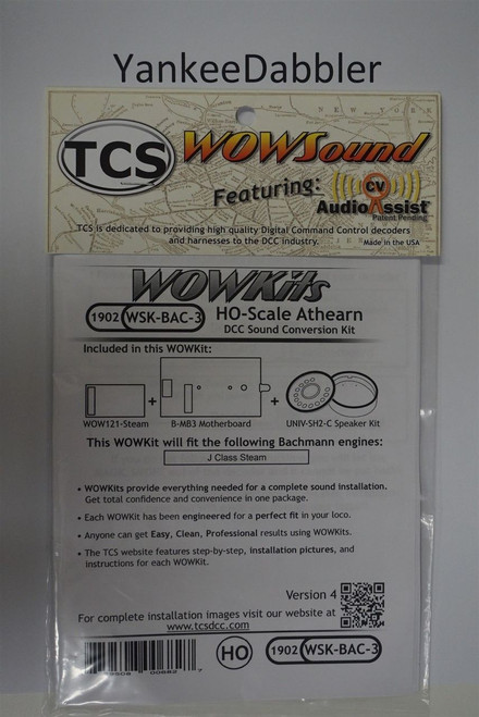 1902 TRAIN CONTOL SYSTEMS (TCS) Bachmann (WSK-BAC-3)  WOW- STEAM HO Bachmann Version 4 CONVERSION KIT - HO Scale  YankeeDabbler Part # 745-1902