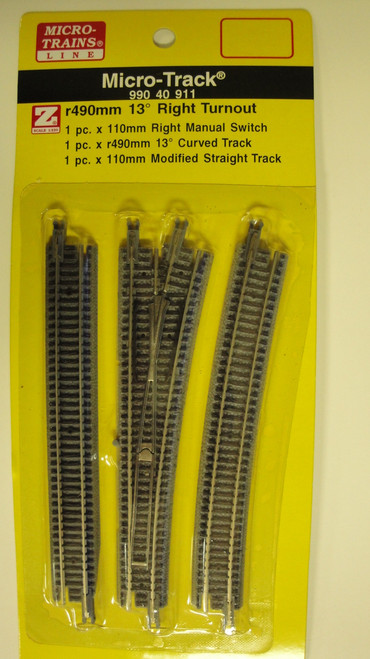 99040911 MICRO TRAINS / {99040911} Micro Track 13 DEGREE Right TURNOUT  (SCALE=Z)  YANKEEDABBLER  PART #  = 489-99040911