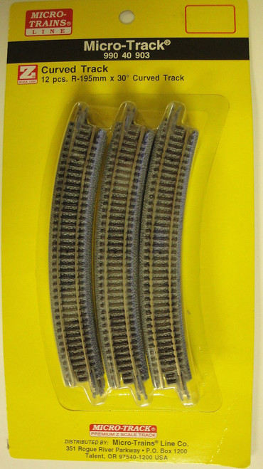 99040903 MICRO TRAINS / {99040903} Micro-Track CURVED 12 PCS. X 30 DEGREES  (SCALE=Z)  YANKEEDABBLER  PART #  = 489-99040903