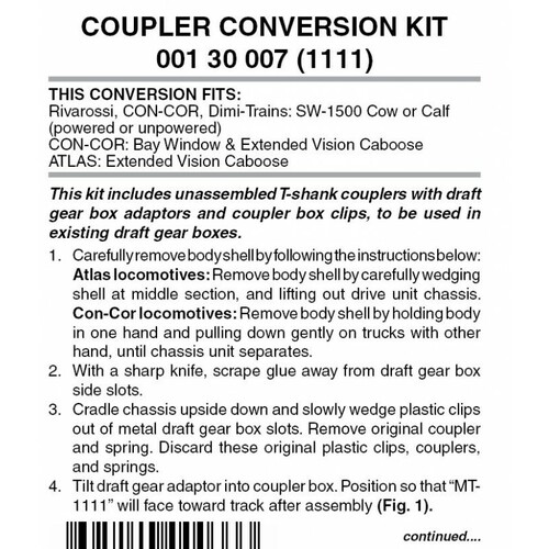 130007 MICRO TRAINS / {001 30 007} COUPLER CONVERSION KIT (1111)  (SCALE=N)    - YANKEEDABBLER  PART #  = 489-130007
