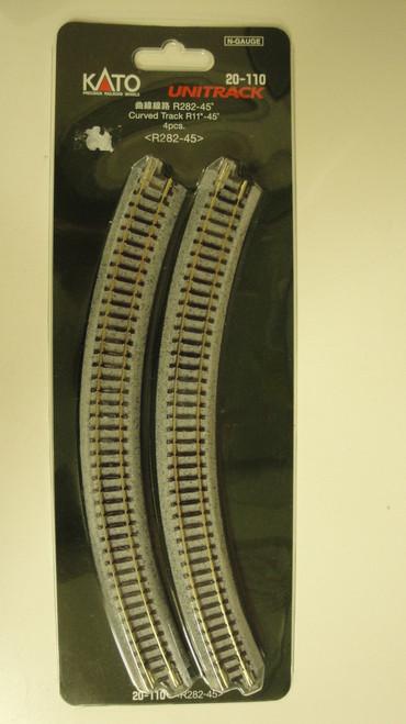 "20110 Kato USA Inc / 282mm (11"") Radius 45º Curve Track [4 pcs]  (SCALE=N)  Part # 381-20110"