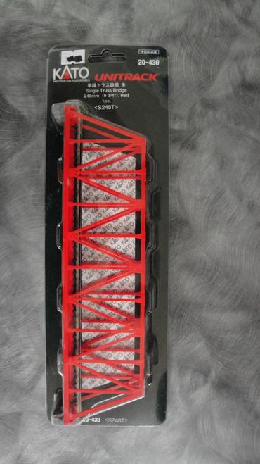"20430 Kato USA Inc / 248mm (9 3/4"") Single Track Truss Bridge, Red  (SCALE=N)  Part # 381-20430"
